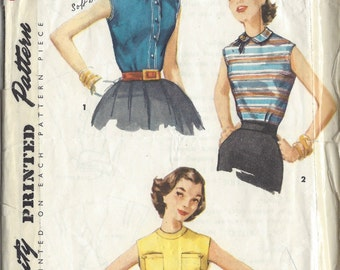 1955 Vintage Sewing Pattern B34 BLOUSE (1191) Simplicity 1388