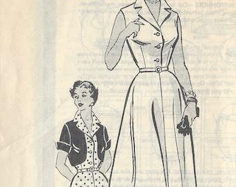 "195Os Vintage Sewing Pattern B40"" DRESS & BOLERO (R213)  By Marian Martin 9053"