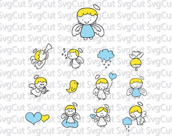 Angels silhouettes, Cute angel svg, Angel svg, dxf, png, cut file for cutting machines, instant download