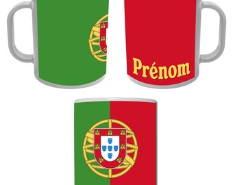 Mug Cup flag of the Portugal personalized with the name of your choice