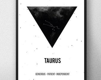Taurus Zodiac Print, Printable astrology , Taurus Zodiac Sign , Taurus Constellation, Zodiac Art, Astrology Print, watercolor artwork