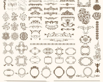 Flourishes and Page Decorations Digital Swirls VECTOR Clip Art Flourish Vintage Page Decoration Clipart Elegant Ornaments Dividers Flowers