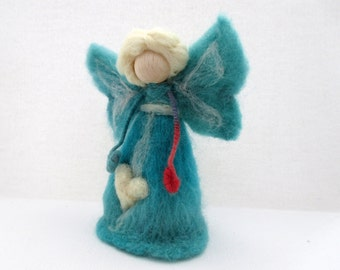 Christmas Angel Tree Topper - Needle Felt Angel - Wool Fairy - Waldorf Inspired Angel - Needle Felted Angel Topper - Made to Order