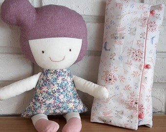 Handmade rag doll with blankt pillow, fabric rag doll, Special gift for babies girls, Cotton doll, Plush toy, cloth doll