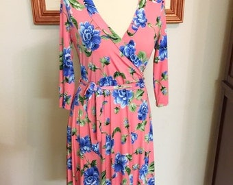 70's Inspired Pink Floral Wrap Dress