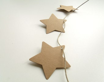 50 tags labels cardboard stars Kraft 6cm