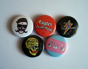 "5 x Eagles of Death Metal 1"" Pin Button Badges ( peace love death metal eddm )"