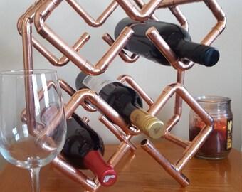 6 Bottle Copper Wine Rack