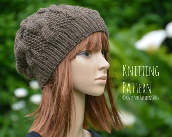 Womens Oversized Slouchy Cable Hat Knitting Pattern PDF Instant Digital Download Knit It Yourself KPWS11