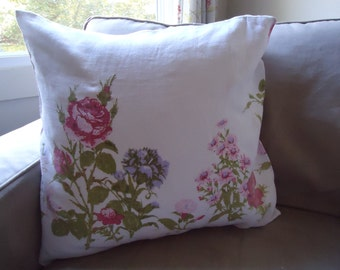 Down Throw Pillow with Vintage Linen Cover