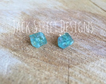 Ocean Blue Apatite Raw Gemstone Studs