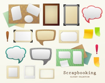 Scrapbooking clipart collection. Scrapbooking tags, labels and frames clip art. Vector art. Digital graphic.