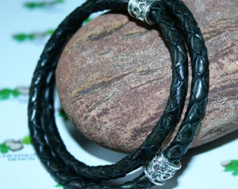 AURORA 6mm Double Leather Braid Mens' Bracelet with Magnetic Clasp