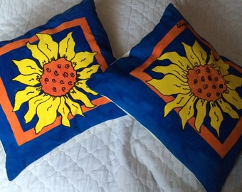 Fabric painted sunflower cushions