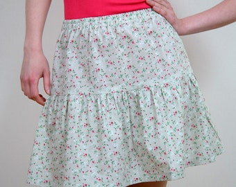 Gathered skirt 100% cotton, grey green small flowers pink and white, waist print