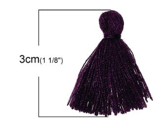 6 PCs Doreen Beads Cotton Tassel Dark Purple 30.0 mm