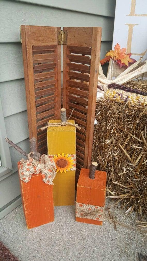 Wood pumpkin decor fall pumpkin 4x4 set of 3 sunflower and for Decoration 4x4