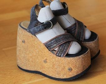 Original JAPAN cork platform shoe wedges sandals size 6