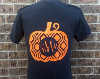 Fall/Halloween Monogram Pumpkin Tee