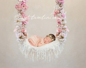 Digital Backdrop Newborn Photography -  Floral Swing