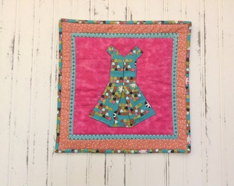 Multi-color Turquoise Dress Wall Quilt