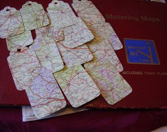 15 PAPER Road map tags ~  die cut from original vintage maps