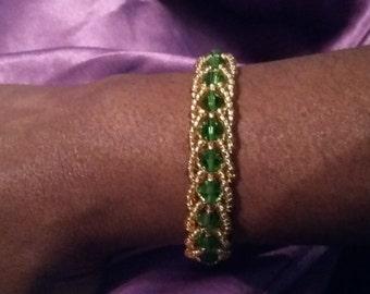 emerald green spiral twist bracelet