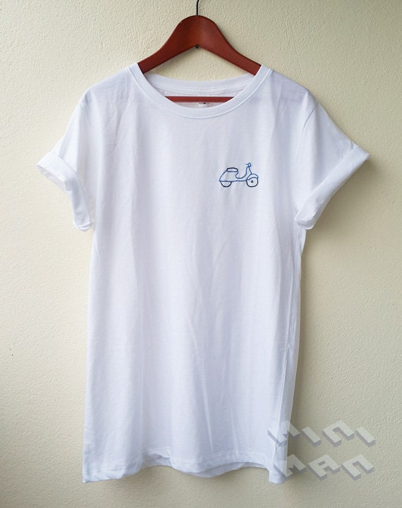 Vespa icon embroidery t shirt minimal tee embroidery hand for How to embroider t shirts