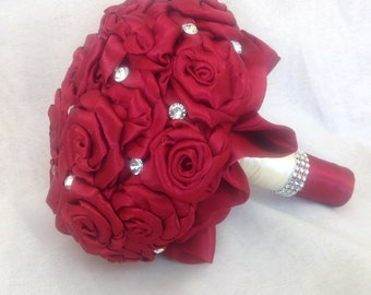 Satin burgundy bridal bouquet