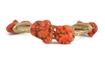 Orange rock gold wire wrapped bangle- sparkling wire