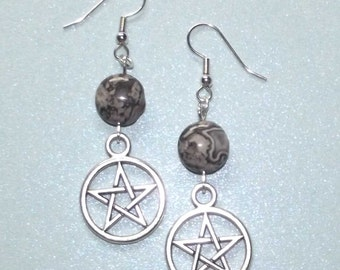 Pentacle & Crazy Lace Agate Earrings. Wiccan, Pagan, Wicca, Witch, Pagan Path,