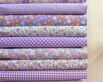9 coupons fabric Quilt/sewing 40 x 50 cm purple 021016 tones