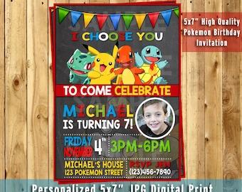 Pokemon Invitation, Pokemon Birthday Invitation, Chalkboard Invitation, Pokemon Birthday Party, Pokemon Printables, Pokemon Birthday Card