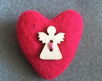 Guardian Angel Heart Brooch