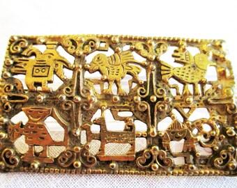 Solid Brass Peruvian Art Brooch