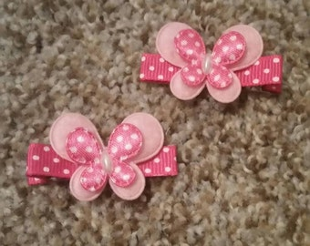 Pink butterfly clips