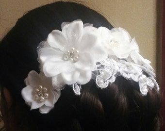 Wedding hair piece, floral hair piece, hair piece, flower clip, wedding hair clip, floral hair piece, bride floral piece, bridal hair piece