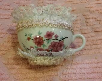 PINK TEACUP PINCUSHION, Repurposed Teacup,Vintage Cherryblossom Porcelean Teacup Pincushion,Pink n White Pincushion,