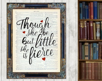 Though She Be But Little Quote Vintage Dictionary Page Art Print Picture Shakespeare 3 column  Framed and Mounted
