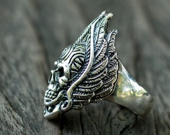 Winged Skull Ring Etsy