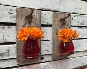 Set of colored jars on pallet, bedroom decor, home decor, pallet decor