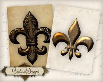 Metallic Fleur De Lis ATC vintage images digital background instant download printable collage sheet VD0595