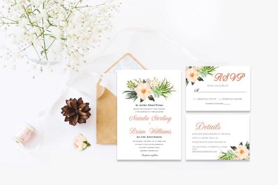 Floral wedding invite word_46,INSTANT DOWNLOAD, Editable Wedding template invitation. Microsoft Word template.Wedding Printable