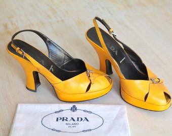 Vintage Prada Peep Toe Slingback Yellow Mustard Leather Shoes Size 37 1/2