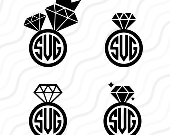 Diamond Ring SVG, Wedding SVG, Diamond Ring Monogram SVG Cut table Design,svg,dxf,png Use With Silhouette Studio & Cricut_Instant Download
