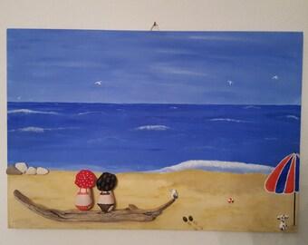 """Sassi dipinti,Pebble Art. Stones.Quadro """"In spiaggia..Contemplazione  """""""
