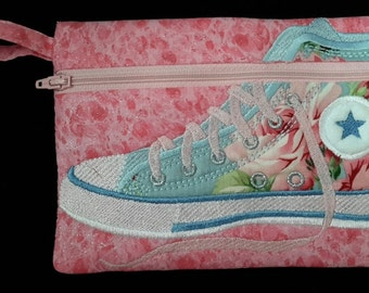 Roses Converse tennis shoe zip bag