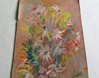 vintage original oil painting flowers, signed