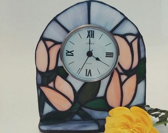 stained glass clock/ candle holder