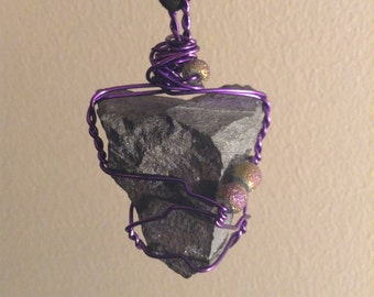ON SALE Purple Wire Wrapped Hematite Necklace